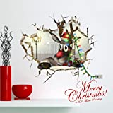 3D Christmas Wall Sticker,Ikevan 67x58cm Christmas Reindeer Waterproof Environmental Protection PVC Sticker Stereoscopic Wall Decals Sticker Home Wall Decor Gifts Colorful