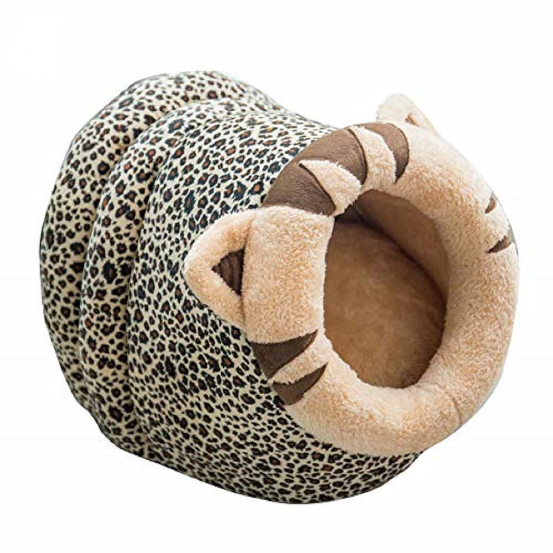 Leopard  L Leopard  L xinYxzR Warm Plush Cushion Kennel Nest Winter Lion Sheep Cow Shape Pet Dog Cat Puppy Bed