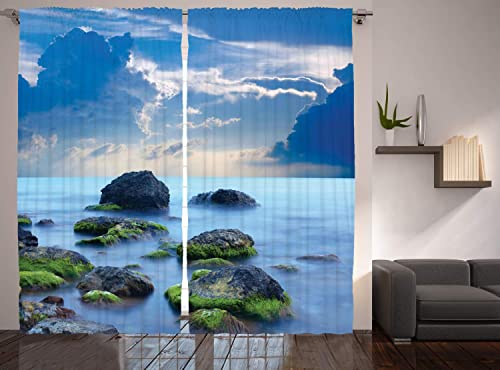 Ambesonne Spa Decor Curtains, Sea Stones Mystic Seaside Caribbean Photo Print, Window Drapes 2 Panel Set for Living Room Bedroom, 108 W X 90 L Inches
