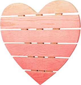 MyGift Pink Ombré Heart-Shaped Wood Wall Decor