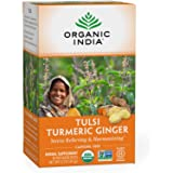 Organic India Tulsi Turmeric Ginger Herbal Tea - Stress Relieving & Harmonizing, Immune Support, Healthy Inflammatory Respons