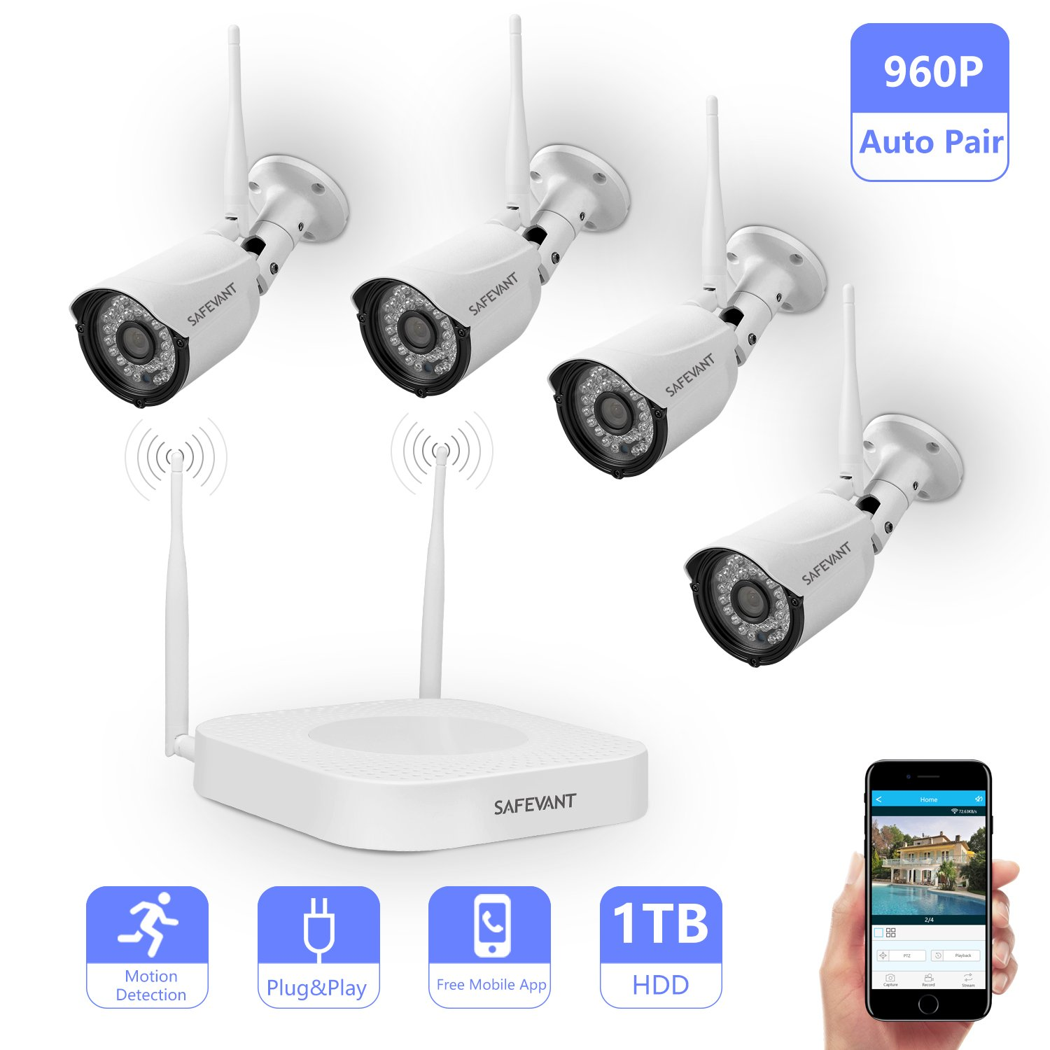 Wireless Security Camera System,Safevant Full-HD 8CH Video Security System with 4pcs 960P Wireless Security Cameras,65ft Night Vision,1TB HDD Pre-installed ,Auto-Pair,Plug&Play