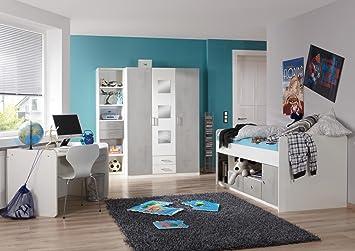 Lifestyle4living Jugendzimmer Komplett Set In Weiß Und Grau, 3 Teilig Für  Mädchen Und