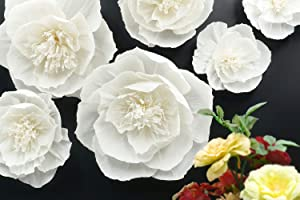 Letjolt White Paper Flower Decorations for Wall Birthday Party Backdrop Wedding Christmas New Year Baby Shower Bridal Shower Nursery Wall Decor(White Set 6)