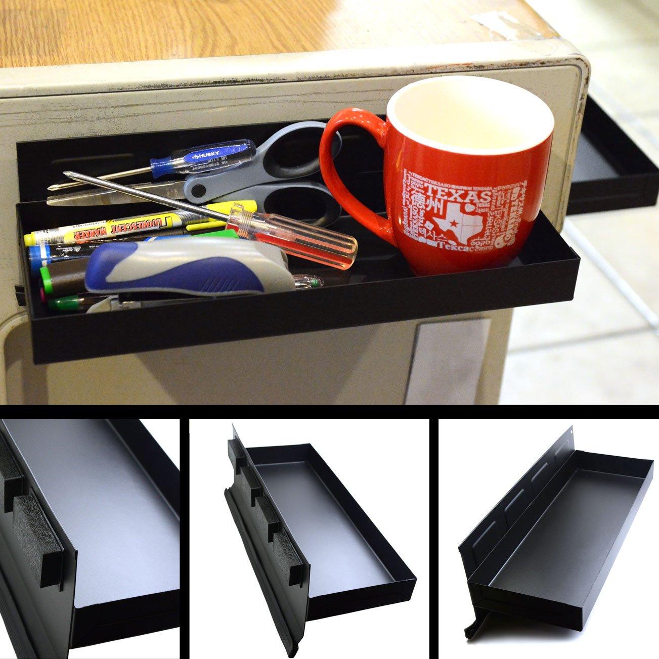 "CMS Magnetics® Magnetic Tool Tray 12""x4.5""x1.25"" Black Tool Organizer"