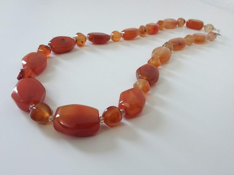 COLLAR naranja - clásico - cornalina - piedras semipreciosas - hecho a mano - idea de regalo de mujer