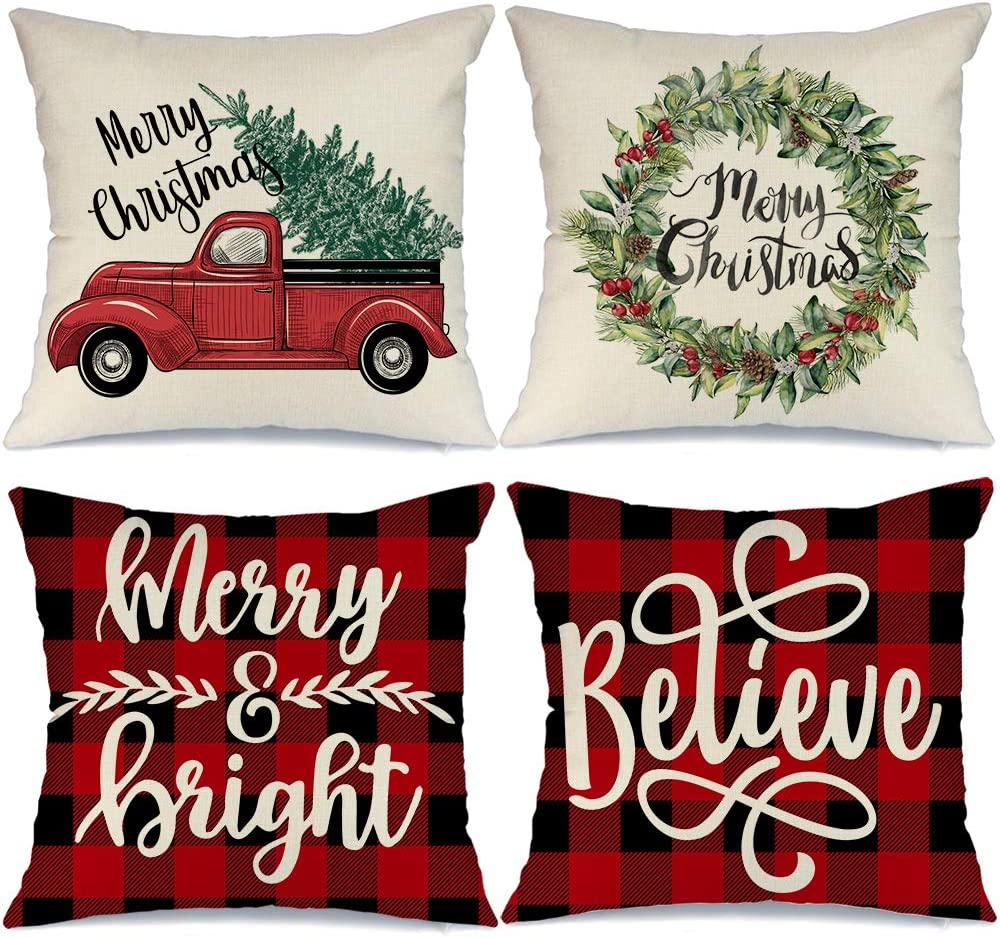 AENEY Buffalo Plaid Christmas Pillow Covers 20x20 Set of 4 Marry Bright Christmas Pillows Winter Holiday Throw Pillows Farmhouse Christmas Decor Red Truck Xmas Decorations for Couch A266-20