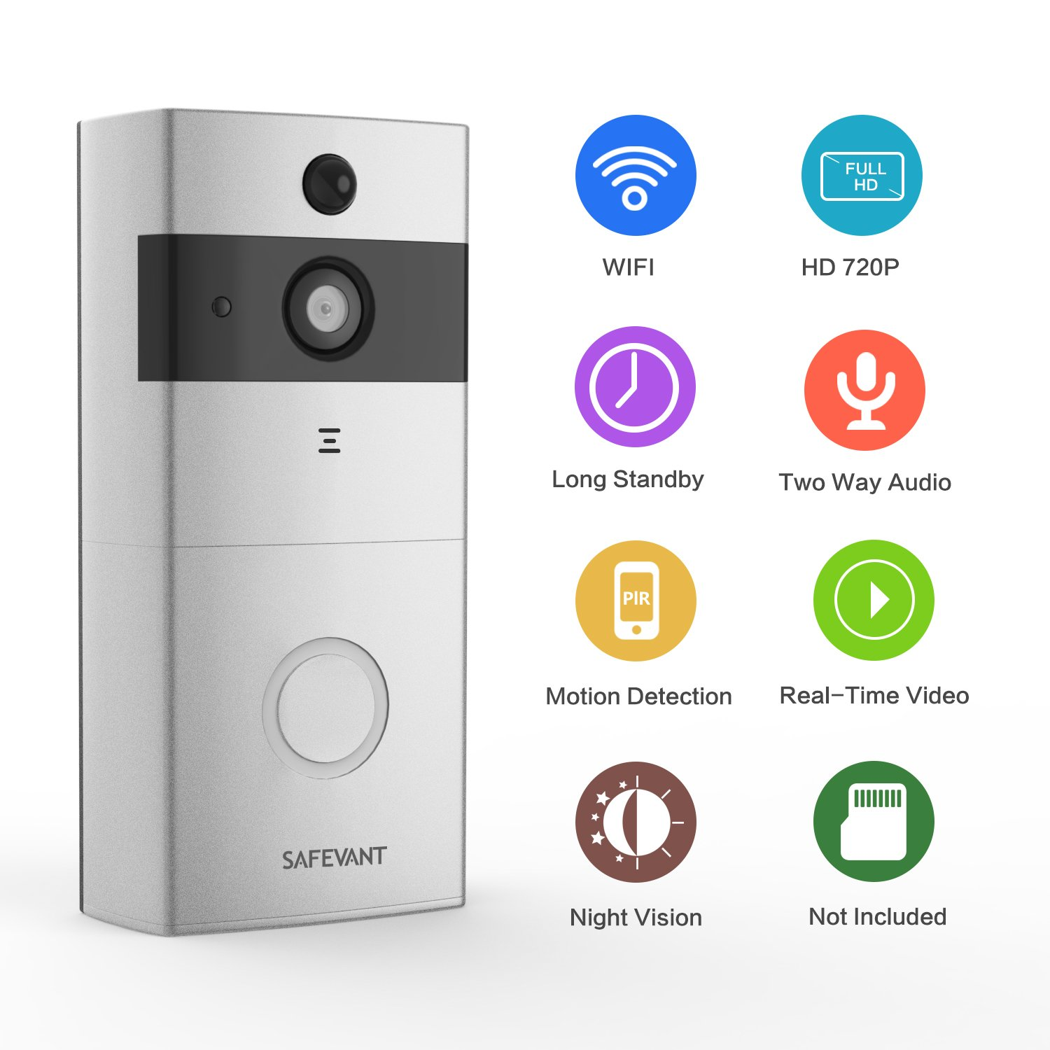 [2018 Newest] Video Doorbell,Safevant Doorbell Wireless with PIR Motion Detection,720P Doorbell Camera, Real-Time Video and Two-Way Talk,Night Vision,Phone Ring,Free APP,Only Supprt 2.4GHZ,Sliver