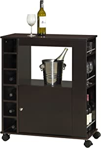 Baxton Studio Ontario Modern and Contemporary Wood Dry Bar and Wine Cabinet, Dark Brown