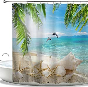 "HIYOO Bathroom Tropical Seashore Dolphin Seashell Shower Curtain Sets, Sea Coast Island Beach Palms Trees Starfish Conch Bathtub Shower Curtain with Hooks, Excellent Waterproof Fabric 72"" W x 72"" L"