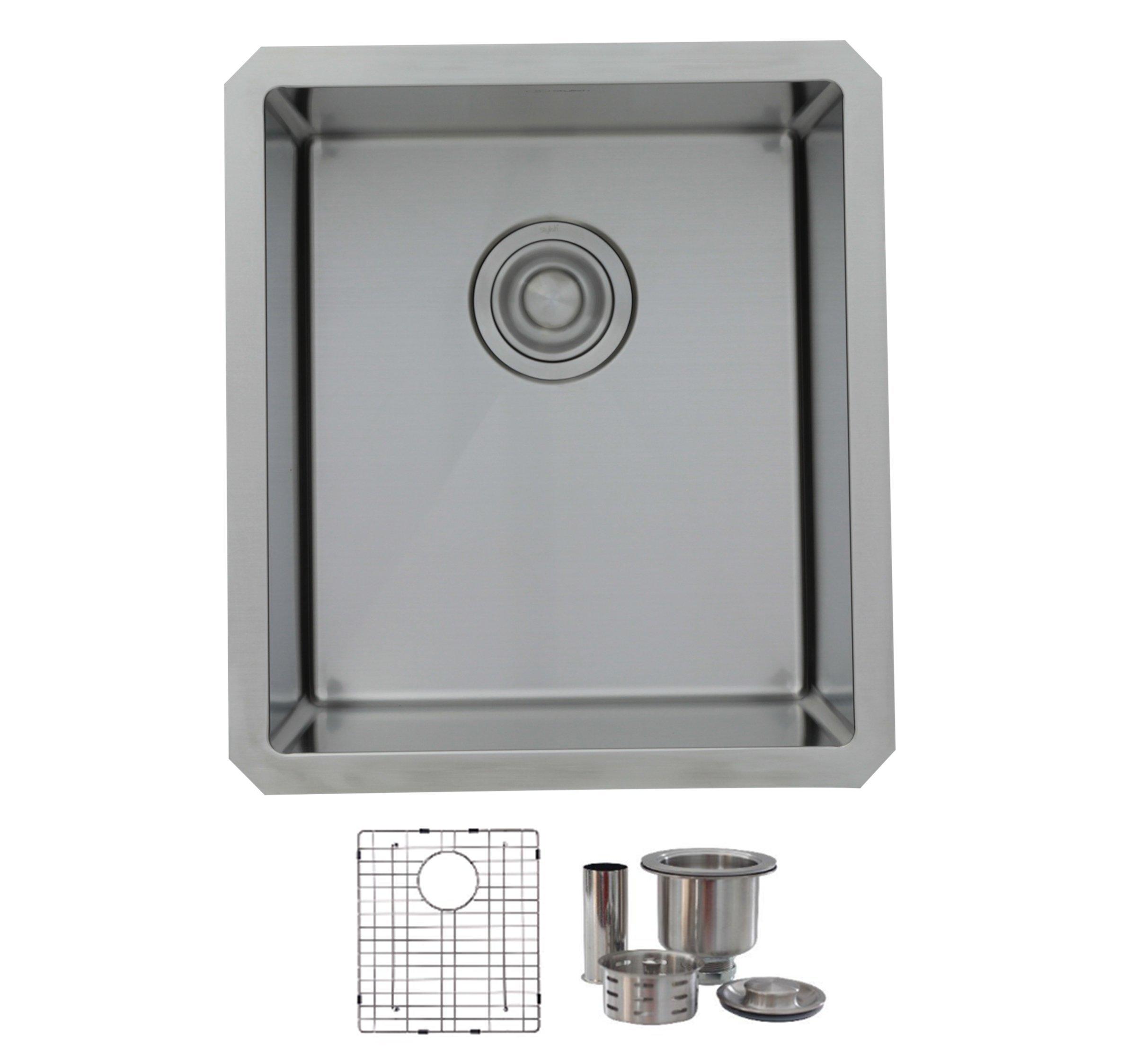16 Inch Kitchen Bar Sink,18G Stainless Steel with luxury basket Strainer S-309G