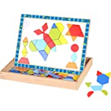 Timy Shape Puzzle Wooden Magnetic Pattern Blocks Art Easel with Chalkboard and Chalk Educational Toy for Kids