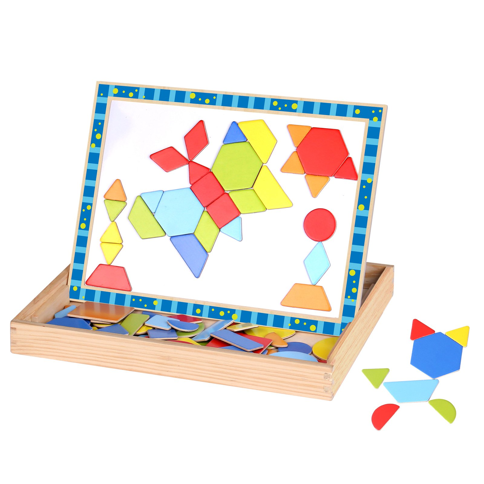 Timy Shape Puzzle Double Side Wooden Magnetic Pattern Blocks Art Easel with Chalkboard and Chalk Educational Toy for Kids