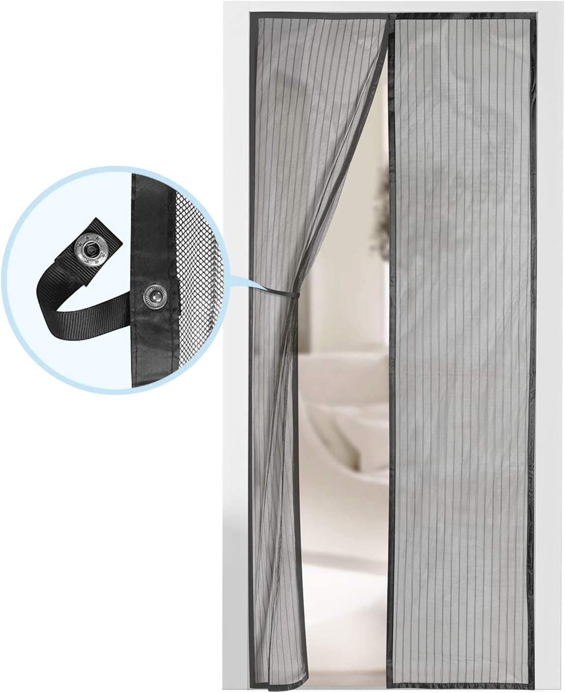 "Magnetic Screen Door - Self Sealing, Heavy Duty, Hands Free Mesh Partition Keeps Bugs Out - Pet and Kid Friendly - Patent Pending Keep Open Feature - 38"" x 83"" - by Augo - -"