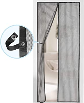 35x82 Black Pet /& Kid Friendly PU MEI Magnetic Screen Door Keep Mosquito Bugs Out Heavy Duty Mesh Curtain with Full Frame Hook and Loop Tape,Fits Front Back Doors