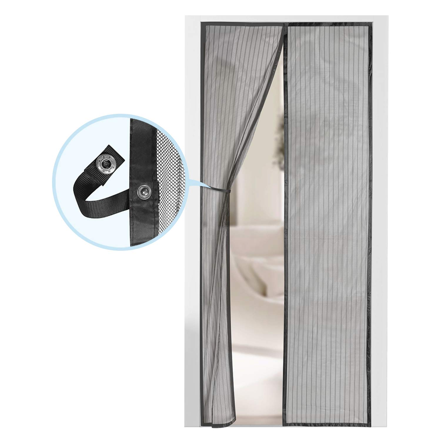 Magnetic Screen Door - Self Sealing, Heavy Duty, Hands Free Mesh Partition Keeps Bugs Out - Pet and Kid Friendly - Patent Pending Keep Open Feature - 38'' x 83'' - by Augo by AUGO