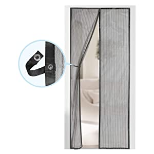 "Magnetic Screen Door - Self Sealing, Heavy Duty, Hands Free Mesh Partition Keeps Bugs Out - Pet and Kid Friendly - Patent Pending Keep Open Feature - 38"" x 83"" - by Augo"