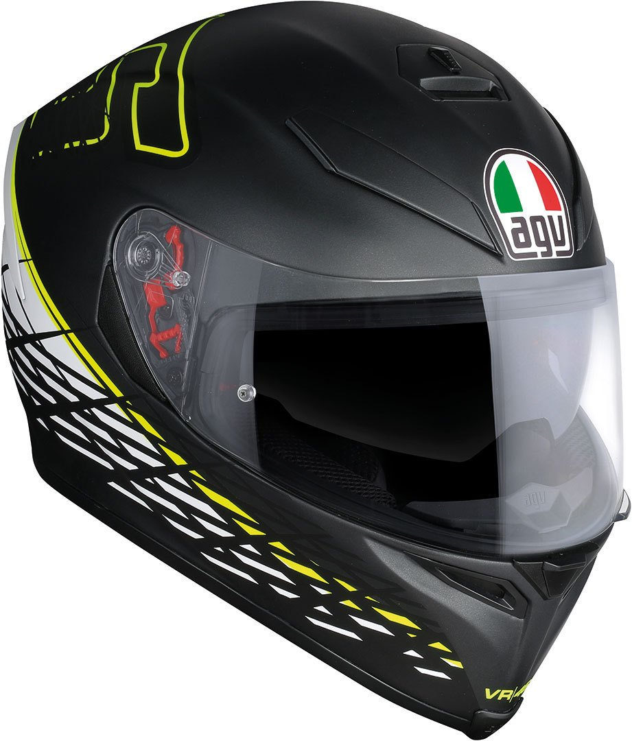 Amazon.es: AGV Casco Moto K-5 S E2205 Top plk, Thorn 46 Matt Black/White/Yellow, XL
