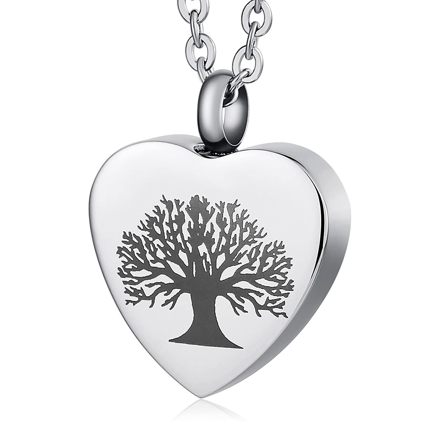 AnazoZ Tree of Life Stainless Steel Heart Shaped Ashes Holder Memorial Cremation Jewelry Urn Pendant Necklace