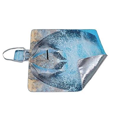 Bennigiry dauphins sautant Motif extérieur Couverture de pique-nique Tapis Extra Large pliable et étanche Famille Tapis de camping pour extérieur Plage randonnée Herbe Voyage, Multi13