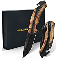 Jellas Pocket Folding Knife for Men with Figured Wood Handle - Tactical Knife with Safety Liner Lock for Camping Hunting…