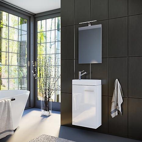 Planetmöbel Badmöbel Set Gäste Wc Gäste Bad Waschtischunterschrank Spiegel Mit Led Leuchte Waschbecken 40 Cm Weiß Hochglanz