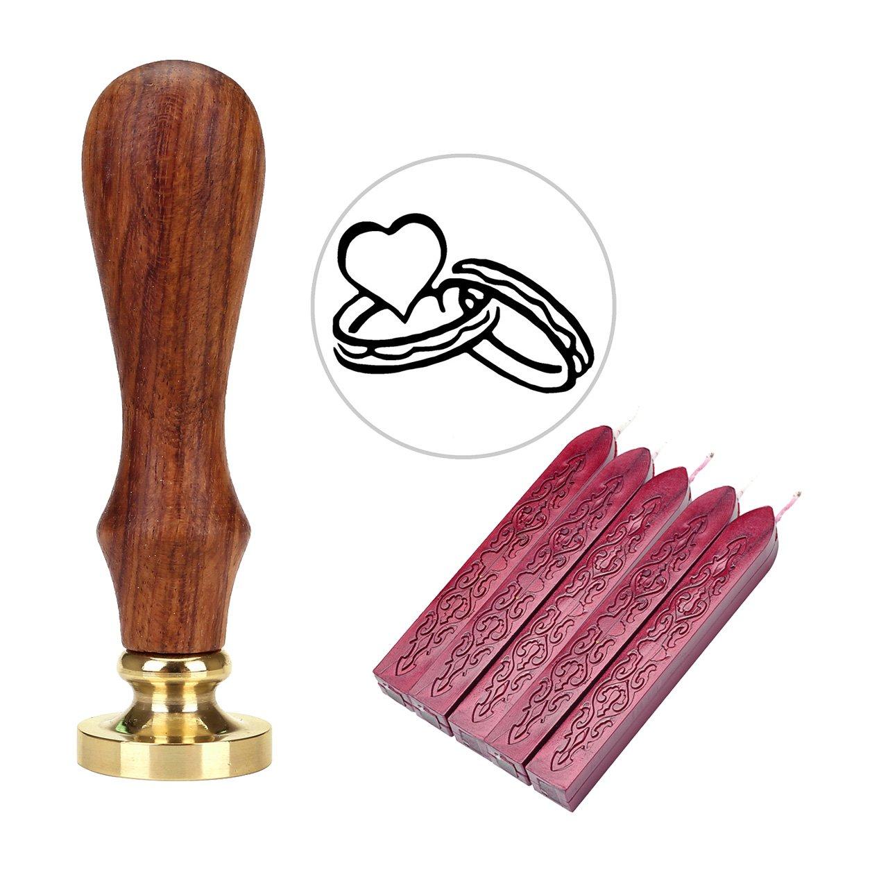 5 Stangen Dunkle Wein Rot Siegelwachs Mogoko Rosenholz achs Siegelstempel Stempel mit Gravur Herz incl