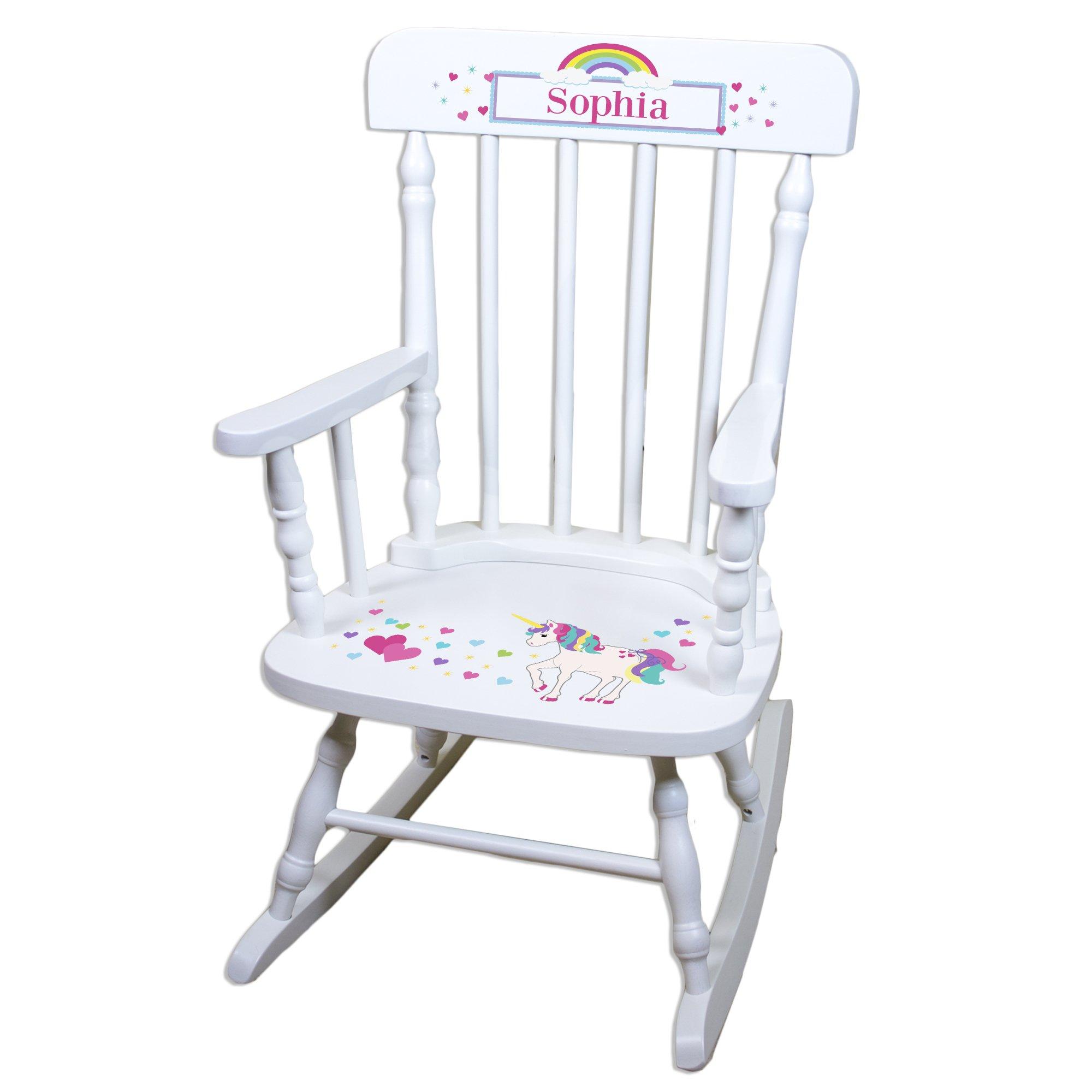 Children's Personalized White Unicorn Rocking Chair