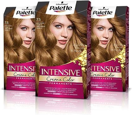 Schwarzkopf Palette Intensive Creme Color – Tono 7.5 cabello Rubio Dorado Caramelo (Pack de 3) Coloración Permanente de Cuidado con Aceite de Marula, ...