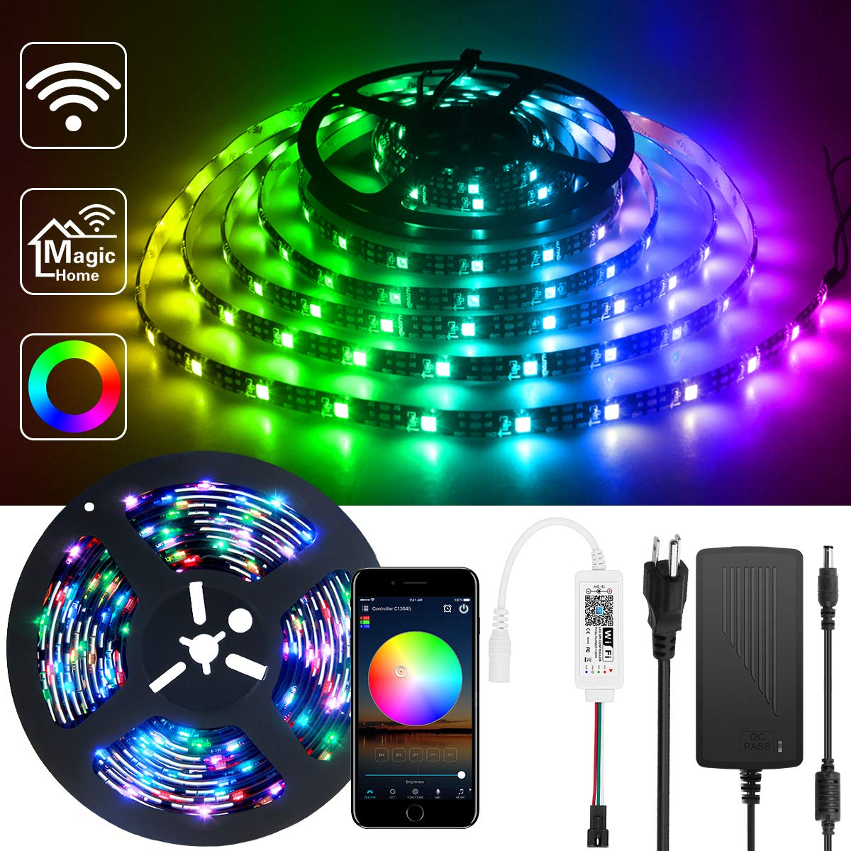ALITOVE WiFi Smart RGB LED Strip Lights with App, Compatible with Alexa Google Home, 16.4ft 150 LEDs Addressable Dream Color Music Sync Voice Control LED Strip with WiFi Controller and Power Supply