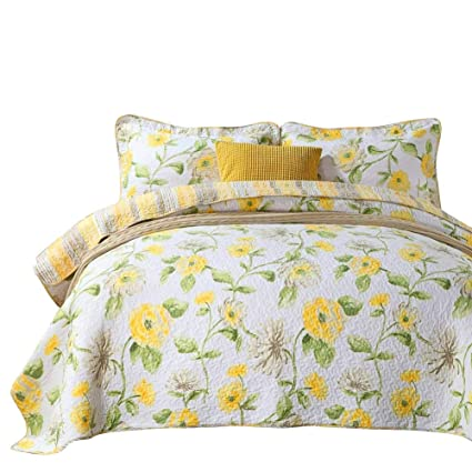 Amazon Mixinni Quilt Sets Queen Floral Patchwork Bed Spread 3