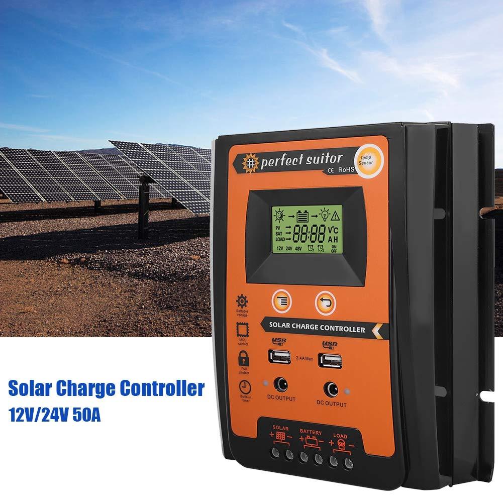 24V 30A,50A 70A EBTOOLS MPPT Regulador de Carga Solar Panel Solar Regulador de Bater/ía Dual USB Pantalla LCD,12V