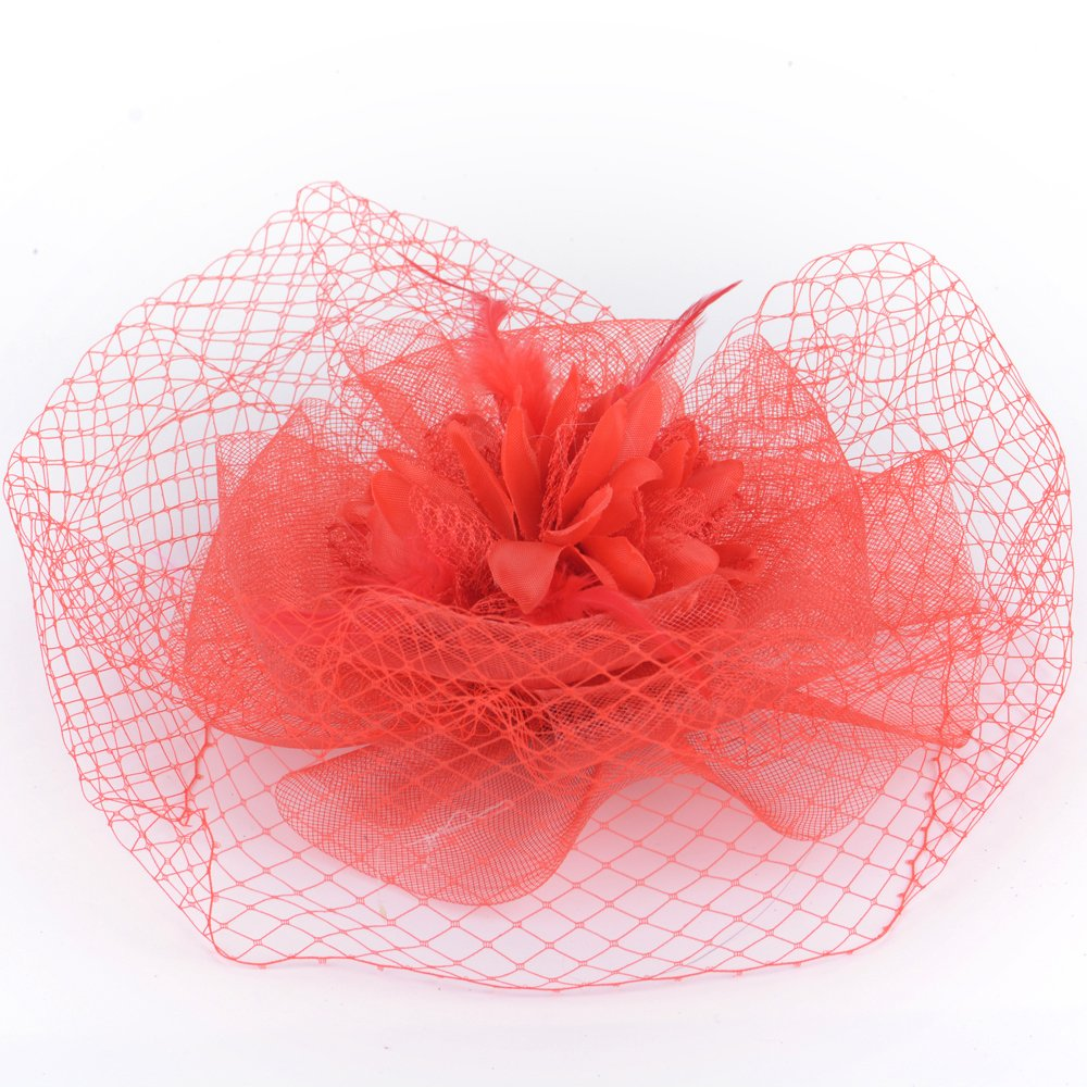 Amazon Kitzen Feather Fascinator Headpiece Hat Hair Clip Mesh Net Flower Charming Netting Headwear Cocktail Wedding PartyRed Home