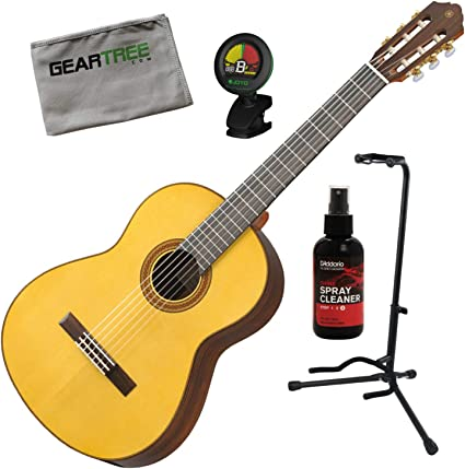 Yamaha CG182S - Guitarra acústica clásica con pulido, soporte ...