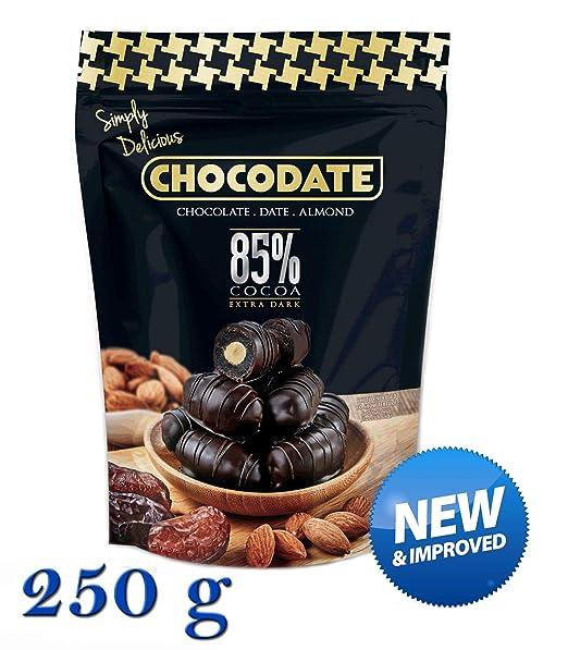 250 g Chocodate - 85% de cacao extra oscuro Chocolate Dátiles con almendras