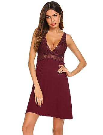 Ekouaer Ekoauer Sexy Lace Modal Sleepwear Chemises V-Neck Full Slip  Babydoll Nightgown for Women 6d568506c