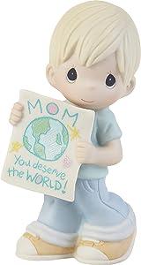Precious Moments 203006 Mom, You Deserve The World Boy Bisque Porcelain Figurine