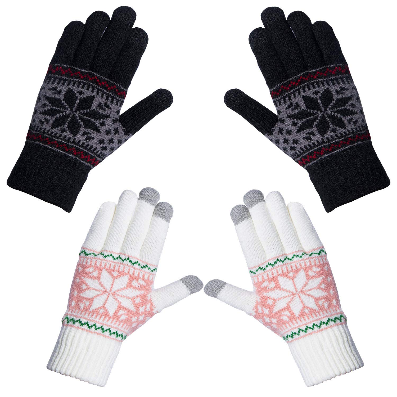 7c061d5bec0fcd Chalier Damen Strick Handschuhe Touchscreen warme Fäustlinge Winter  Damenhandschuhe mit Fleecefutter MEHRWEG product image