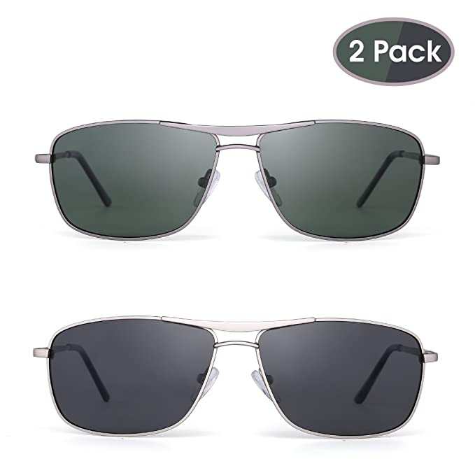 959b0d9ebd JIM HALO Gafas de Sol Polarizadas Rectangulares Conducir Marco Con Bisagras  de Resorte Peso Ligero Hombre