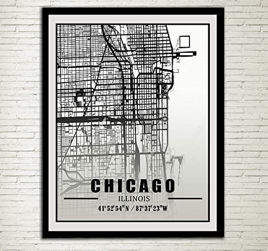 Amazon.com: Chicago City Map Print Chicago Street Map Chicago ... on