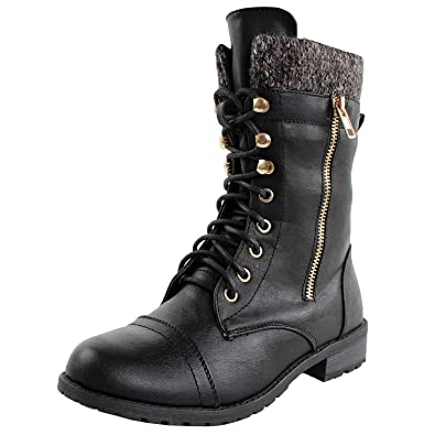 98c0e314a172d Forever Link Womens Mango-31 Round Toe Military Lace Up Knit Ankle Cuff Low  Heel Combat Boots