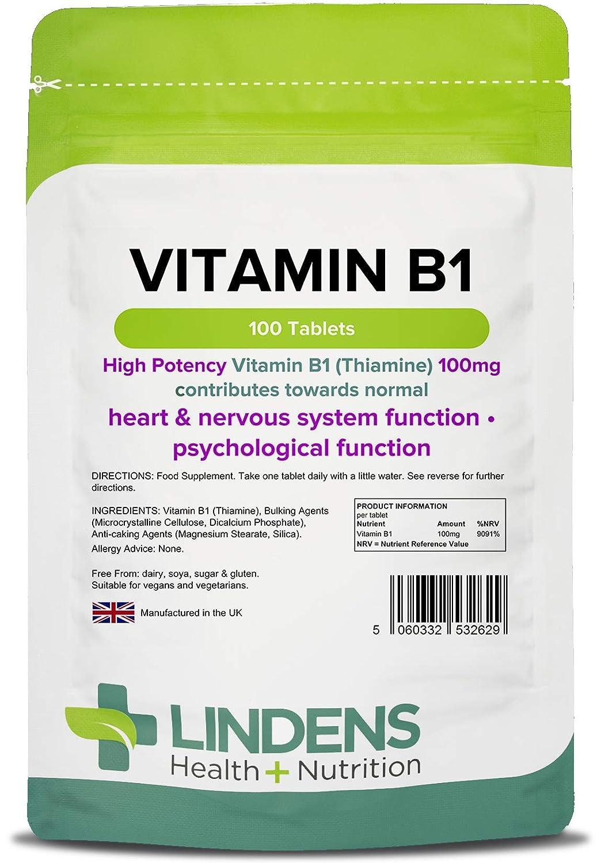 Lindens Vitamin B-1 100 tablets (Thiamin / Thiamine) One a Day B1