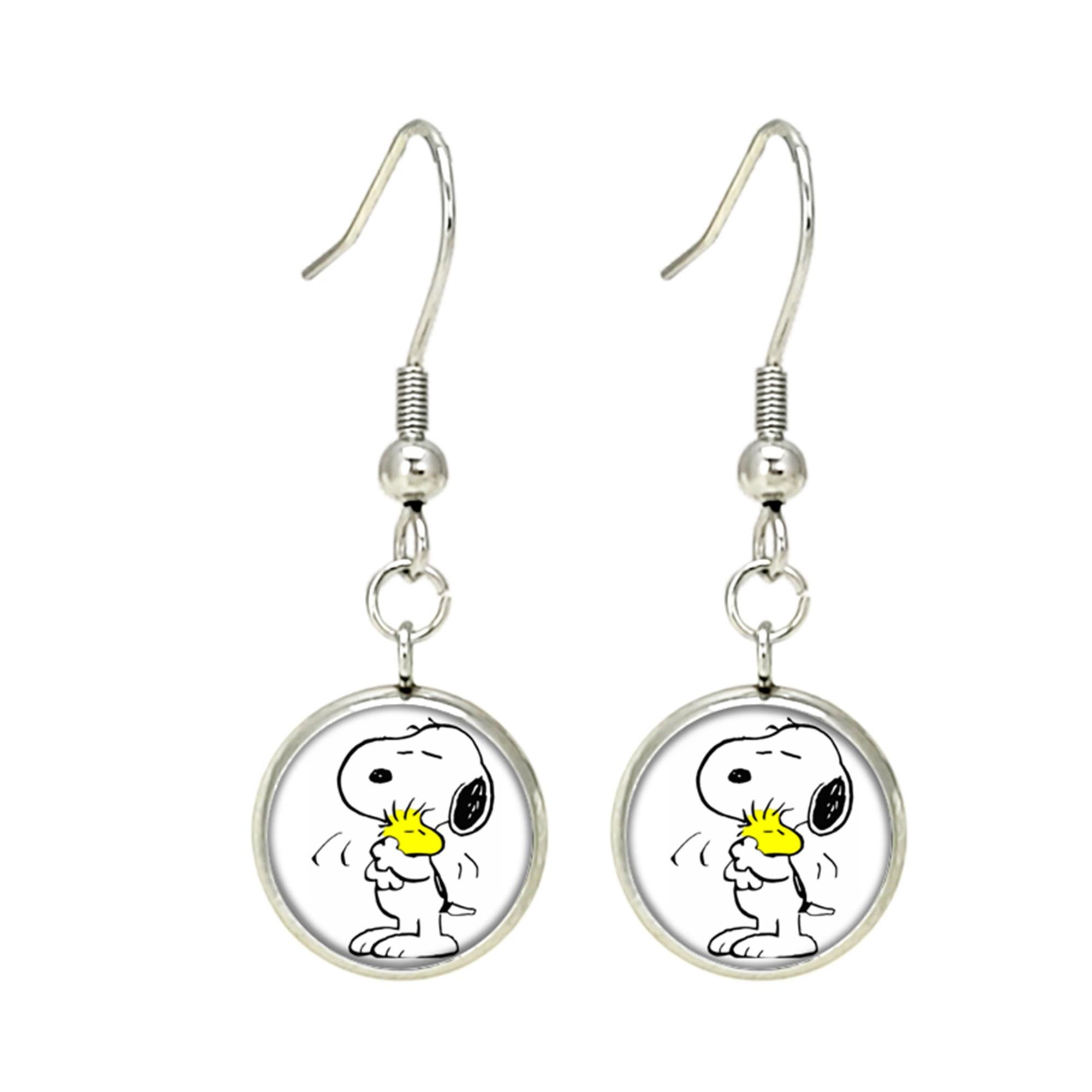 Charlie Brown Snoopy Dangle Earrings TV Movies Classic Cartoons Superhero Logo Theme Peanuts Sally Lucy Linus Woodstock Premium Quality Detailed Cosplay Jewelry Gift Series