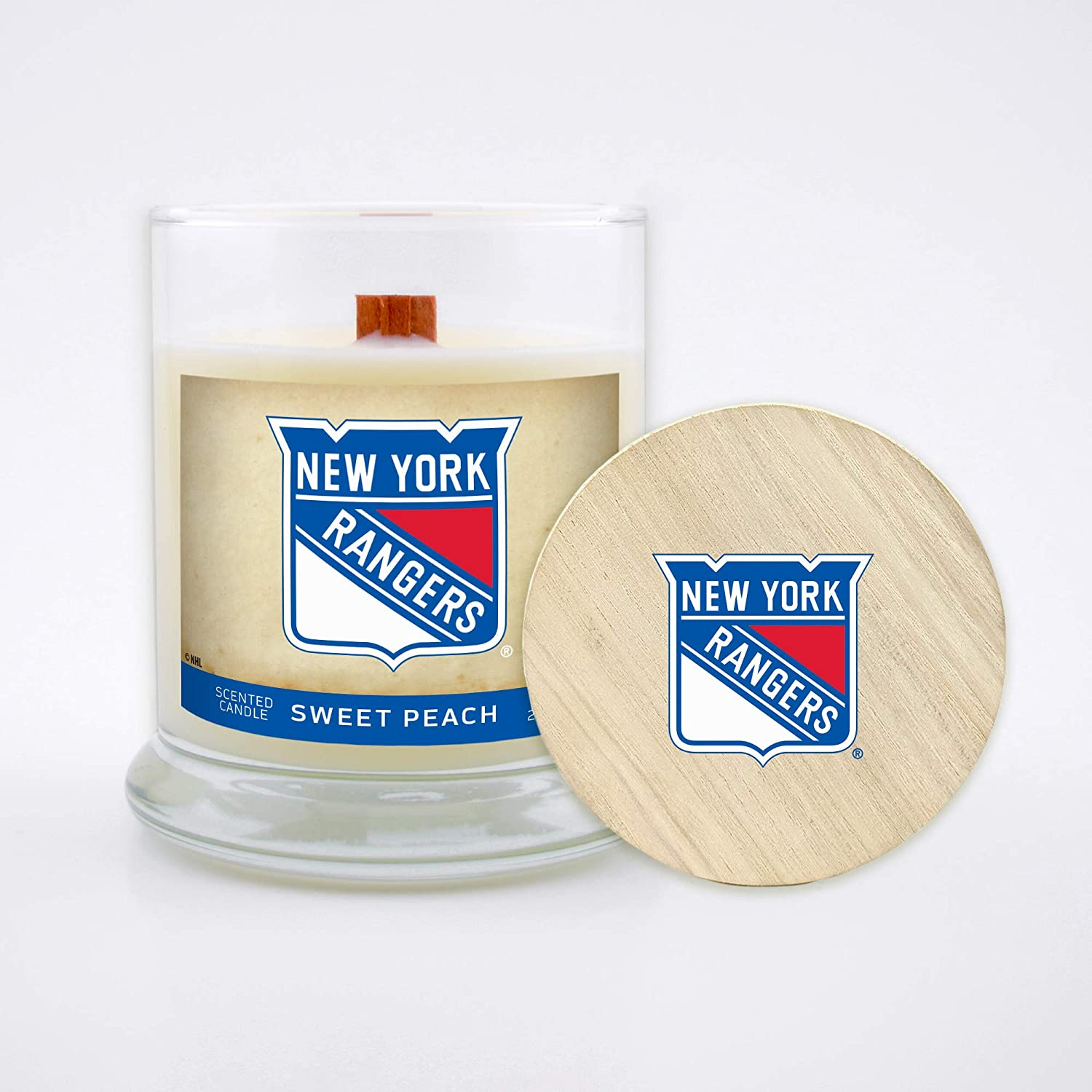 Sweet Peach Anaheim Ducks Worthy Promo NHL NHL Scented Candle 8 Oz Soy Wax Wood Wick and Lid