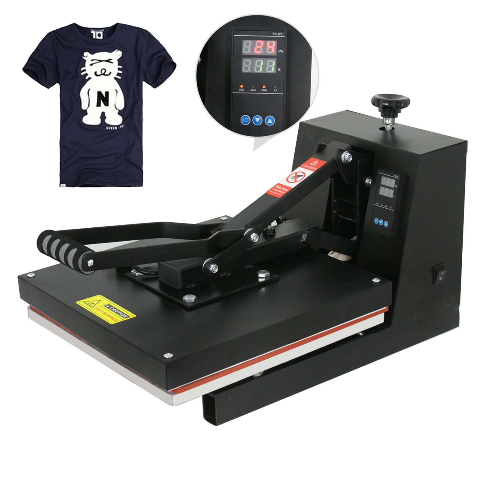 "F2C 15"" x 15"" Black Digital Clamshell Heat Press Transfer T-shirt Sublimation Machine (15""x 15"" black)"