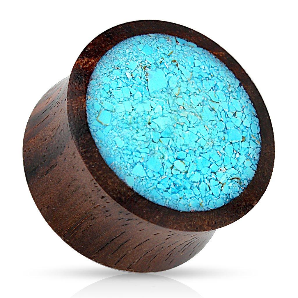 Pair of 00 Gauge(10mm) Crushed Synthetic Turquoise Organic Wood Saddle Fit Plug FE24