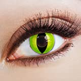 aricona Farblinsen – Katzenaugen deckend grün – farbige Kontaktlinsen ohne Stärke – bunte, farbig intensive gelb grüne Farbkontaktlinsen für Halloween & Karneval
