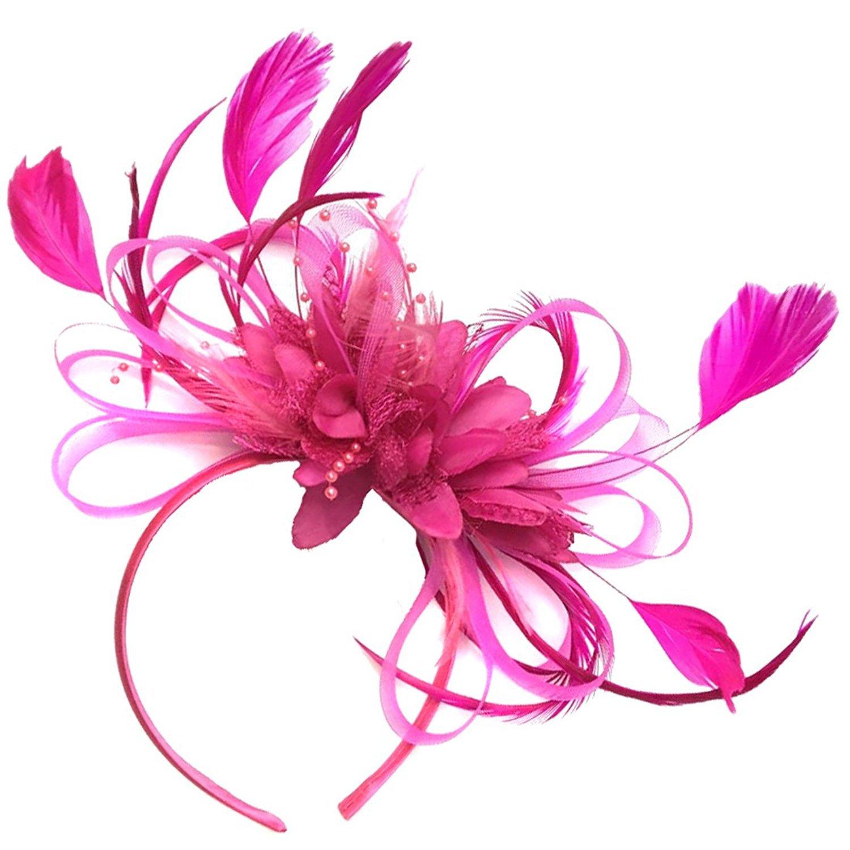 Fuchsia Rose vif plumes Cheveux Serre-tête de mariage avec et Royal Ascot courses pour femme fuchsia_hoopmix