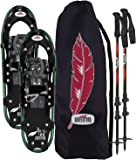 Redfeather Women's Hike Recreational Series Snowshoe Kit, Snowshoes, Poles and Carry Tote, Available In 22, 25 & 30 Inch Lengths, Aluminum Frame, SV2 Bindings, Live Action Hinge, Sure Grip Crampon, & Rip Stop Decking - 1600