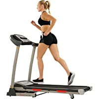 Sunny Health & Fitness Portable Treadmill with Auto Incline, Device Holder, Pulse Grips, 220 LB Max Weight and Shock…